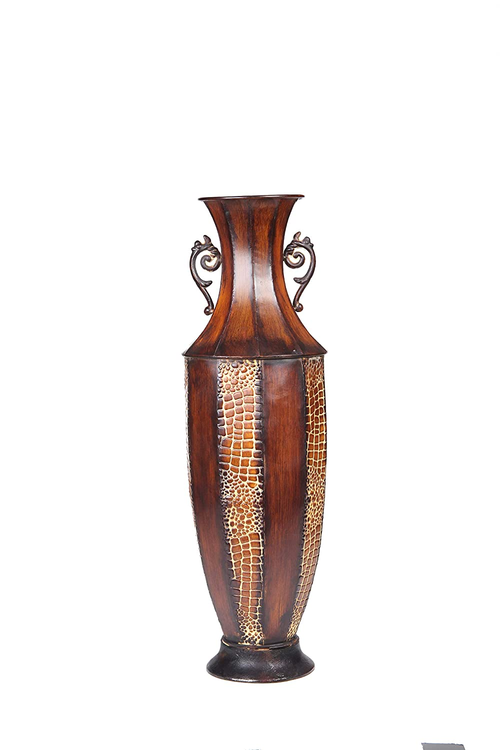 Hosley 18 Inch High Iron Embossed Tall Floor Vase Ideal Gift for Wedding and Special Occasions Great for The Den or Study as Well as The Family Room or Home Office O3