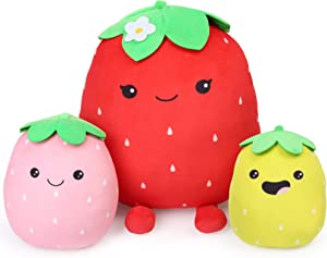 BenBen Plush Strawberry Toy, Set of 3 Stuffed Squishy Strawberry Pillow Soft Fruit Cushion for Kids Girls Boys, 6, 7 and 12 inch