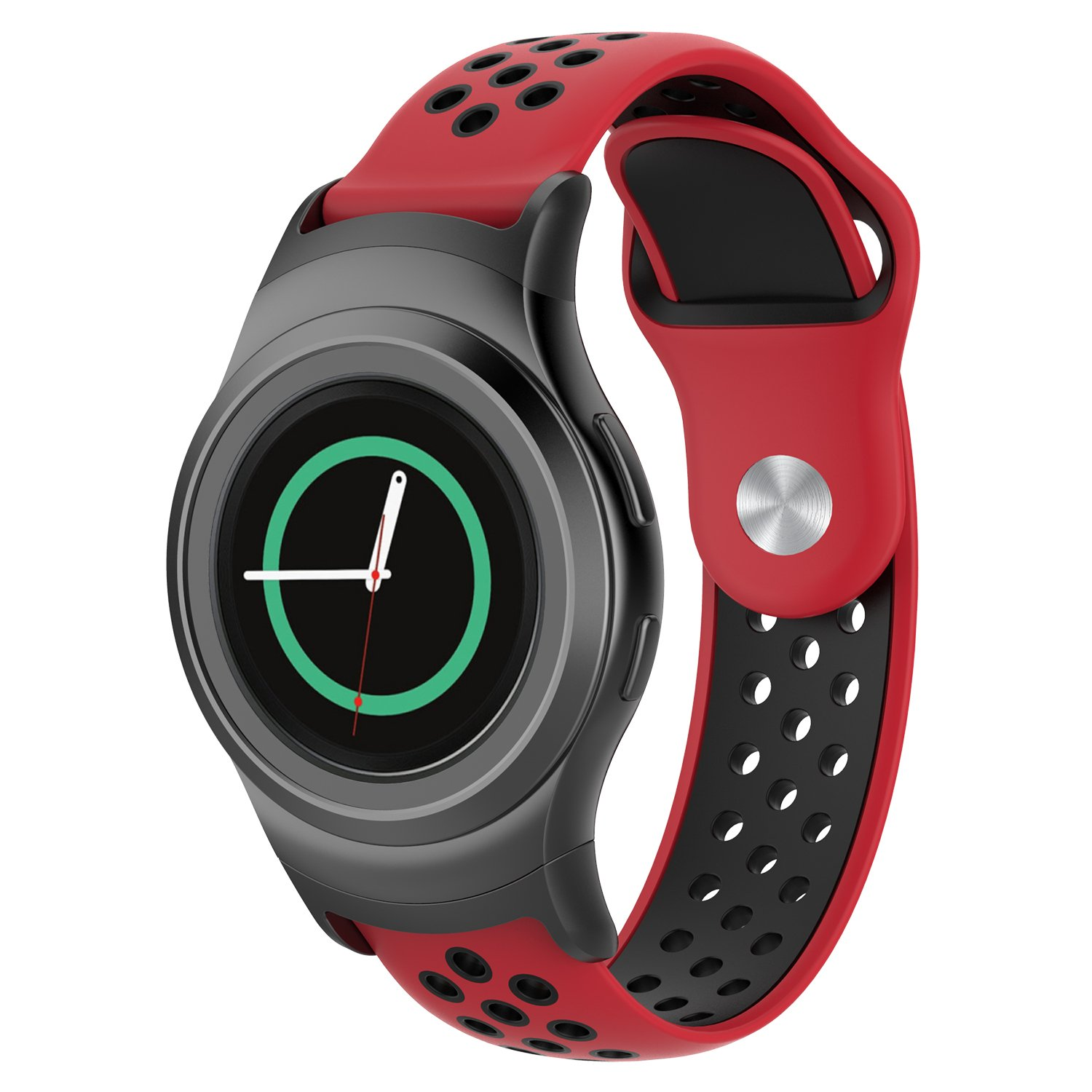 FUNKID Band for Samsung Gear S2 Smartwatch SM-R720/R730 Replacement Strap with Stainless Metal Adapters Connecter Black Red