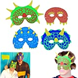 Dinosaur Mask | Party Costume Foam Mask | Birthday Party Supplies | 12 Pieces | Fun Masquerade Idea | Dazzling Toys