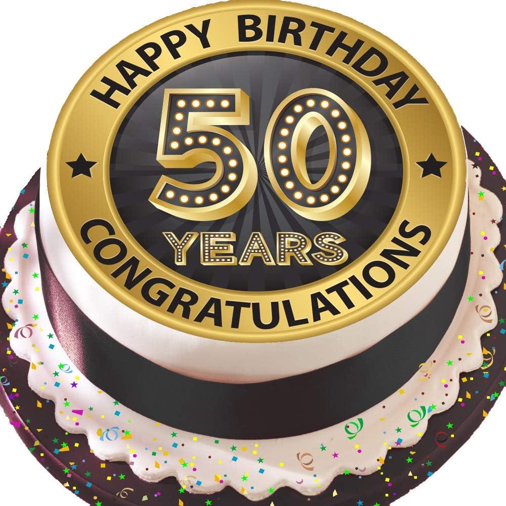 Strange Precut Edible Icing Large Cake Topper 7 5 Inch Round Black Personalised Birthday Cards Bromeletsinfo