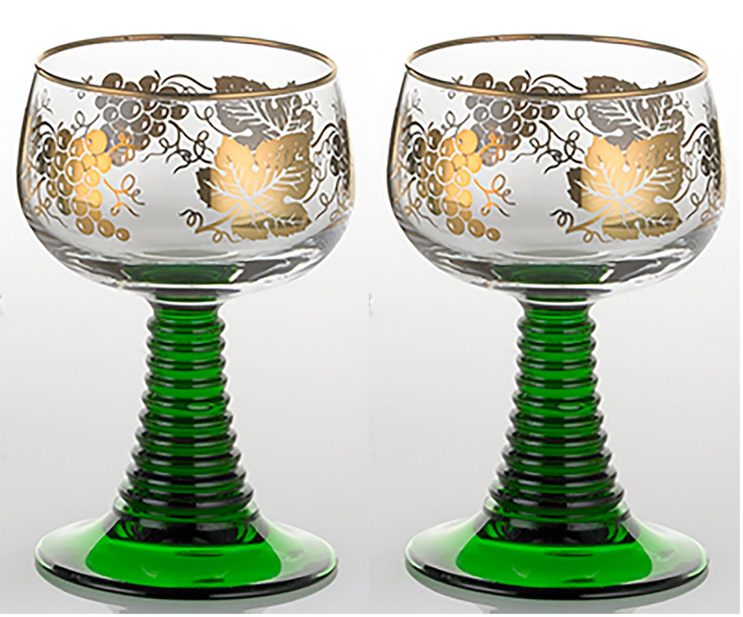 Set of 2 German Rhein Glass Roemer Vintage Goblet Wine Glass w/ Gold-Leaf Rim and Grape Pattern Vintage Wine Glass Goblet GermanGlass 5646