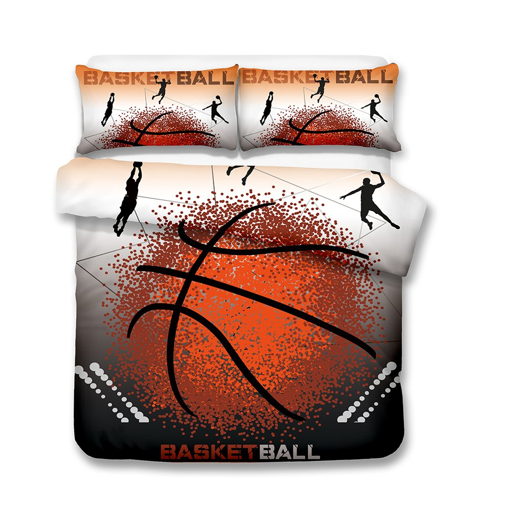 Damara Punctiform Basketball 3D Bedding Set Print Duvet Cover Set Lifelike Bed Sheet Without Any Filling#06 (2, Twin)