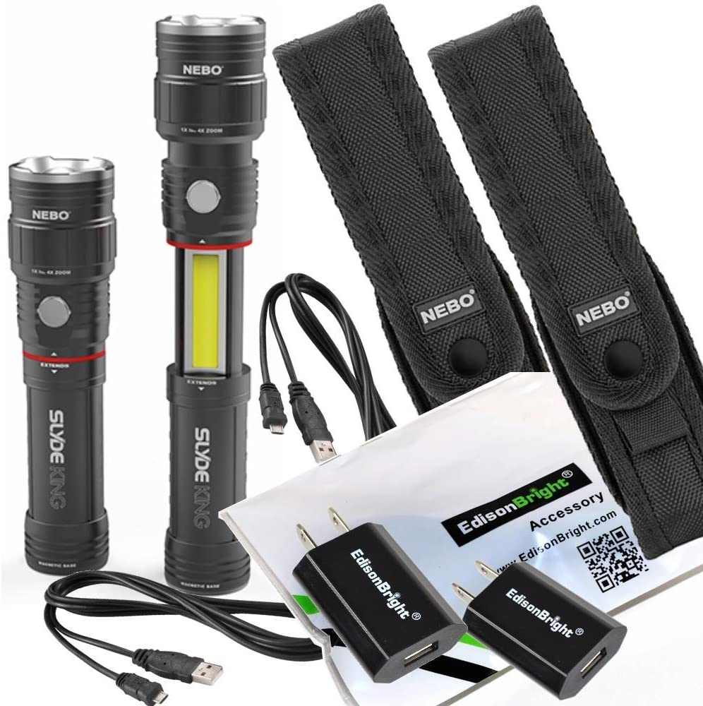 rechargeable Li-ion battery 2 pack Nebo Slyde King 330 Lumen 6434 USB rechargeable LED flashlight//Worklight 6561 holster with EdisonBright USB charger bundle