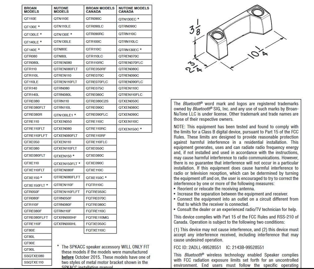 Broan SPKACC Sensonic QT Series Speaker Accessory with Wireless Technology