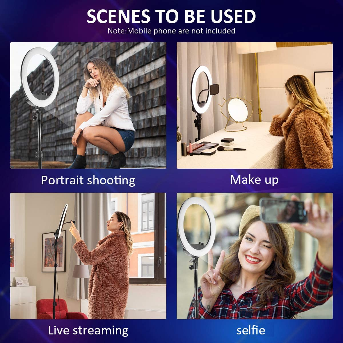 Photography Compatible for iPhone Android Keayeo 18 Selfie Ring Light with Adjustable Tripod Stand and Phone Holder for Live Stream Dimmable Led Camera Beauty Ringlight for YouTube Video Makeup