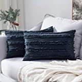 MIULEE Set of 2 Decorative Boho Throw Pillow Covers Cotton Linen Striped Jacquard Pattern Cushion Covers for Sofa Couch Living Room Bedroom 12x20 Inch Navy Blue