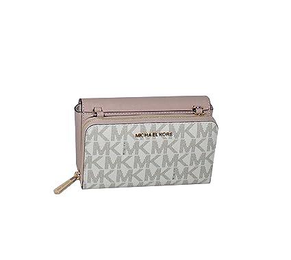 5c2743edb9c0 MICHAEL Michael Kors Tina Women's Wallet Clutch Xbody Shoulder Leather  Double Bag (Vanilla/Ballet
