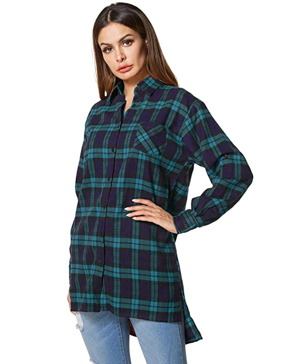896cfcb7efd91 Zanzea Womens Buffalo Plaid Button Down Shirt Flannel Long Sleeve Tops  Grunge Collar with Pocket at Amazon Women s Clothing store