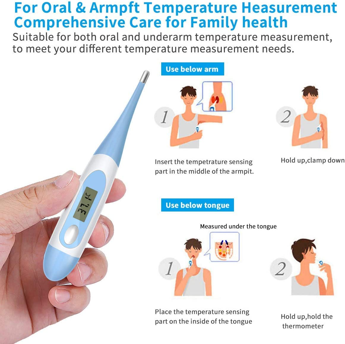 Oral Digital Body Thermometer Underarm LCD Thermometer Waterproof Basal Thermometer with Beeper and Memory for Newborns Soft Tip Accurate Baby Oral Kids and Adults Rectal