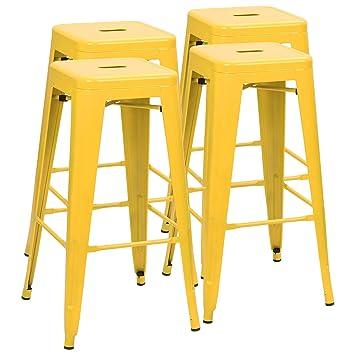 Prime Furmax 30 Inches Metal Bar Stools High Backless Stools Indoor Outdoor Stackable Kitchen Stools Set Of 4 Deep Yellow Inzonedesignstudio Interior Chair Design Inzonedesignstudiocom