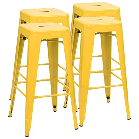 Furmax 30 Inches Metal Bar Stools Backless Stools Indoor-Outdoor Stackable Stools Set of 4 Yellow