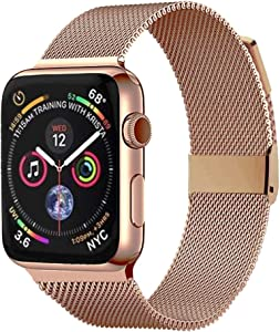 Pigetfy Compatible for Apple Watch Band 40mm 44mm Series 6, Series 5,Series 4,Series 3,Series 2,Series 1,Series SE and Wristband for Iwatch 38mm 42mm (Pink Gold, 38mm/40mm)