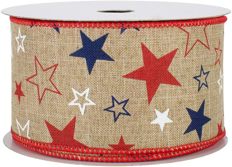 """Patriotic Burlap Stars Wired Ribbon - 2 1/2"""" x 10 Yards, Veteran's Day, 4th of July Wreath Decor, Sparkly Silver, Red, Blue, Glitter, USA Banner Decorations, President's Day"""
