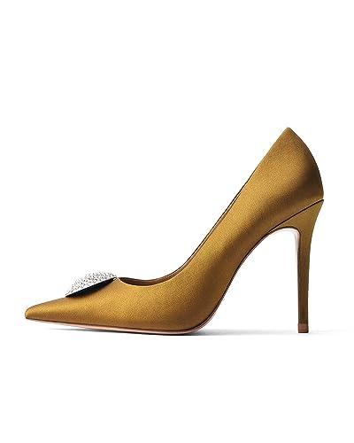 f2a9cb2d68 Uterque Women's Bejewelled Mustard Yellow Satin high Heel Court Shoes  4003/051 (3 UK