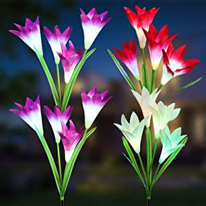 LYHOPE Solar Lights Outdoor, 4 Pack Solar Garden Stake Lights 7 Color Changing Landscape Lights Waterproof Solar Lily Flower Path Lights for Garden, Patio, Yard, Walkway Decoration