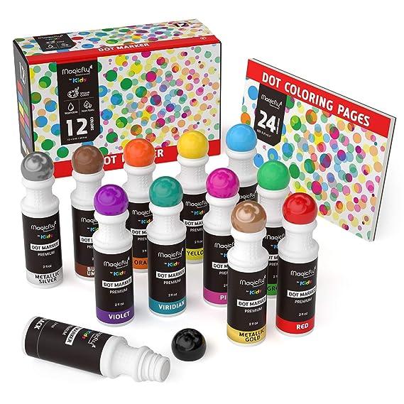 Waschbare Marker, Magicfly 12 Farbige Dot Marker mit zusätzlichem Malbuch für Kinder, ungiftiger Dauber Marker Perfekt für di