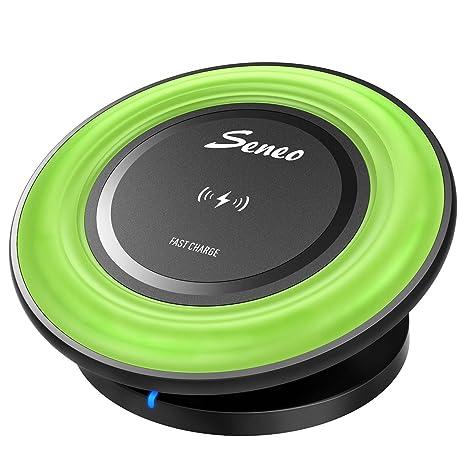 Seneo Base Cargador Inalámbrico Qi de Carga Rápida para iPhone X /8/8 Plus, Samsung Galaxy S7+,S7,S6+, Nokia Lumia, HTC, Moto, Google Nexus, Verde