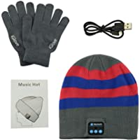 Anpress Bluetooth Beanie Headphones + Touchscreen Gloves,Washable Winter Knitted Wireless Music Headset Hat Mic Stereo Speaker Running, Skiing,Skating, Men Women
