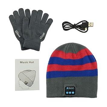 e3f96c0a0635 Anpress - Chapeau bonnet Bluetooth sans fil + Gants tactiles , bonnet  tricoté, musique avec
