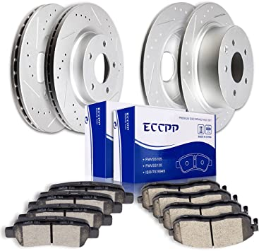 Rotors w//Ceramic Pads OE Brakes Front + Rear Fits: 2007-2013 Altima