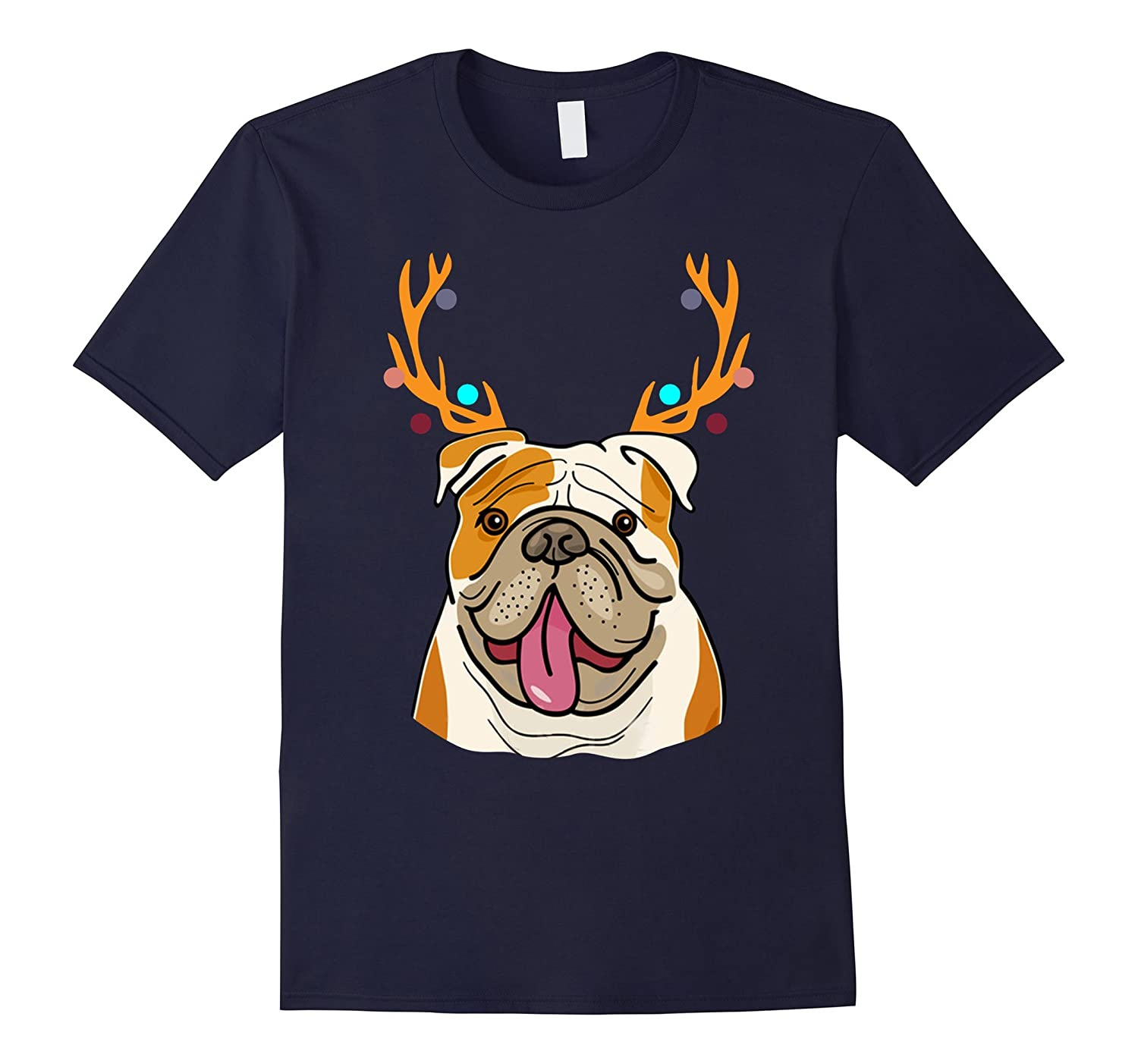 XMAS Funny Bulldogs with Antlers Christmas T Shirt Xmas Tee-TH