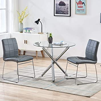 Amazon Com Wenyu Dining Table Set For 2 Small Round Kitchen Table Set With Clear Tempered Glass Top Modern Dining Table And Chairs Set For 2 Person Table 2 Gray Chairs