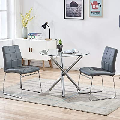 Buy Sicotas 3 Piece Round Dining Table Set Modern Kitchen Table And Chairs For 2 Person Dining Room Table Set With Clear Tempered Glass Top Dining Set For Dining Room Kitchen Table