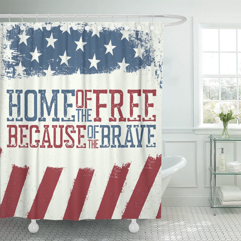 TOMPOP Shower Curtain Blue Americana Patriotic Design Independence Day Celebration of 4Th July Red America Memorial Waterproof Polyester Fabric 60 x 72 Inches Set with Hooks