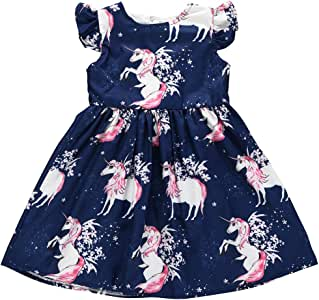 Toddler Baby Girls Tunic Dress Swing Casual Sundress Princess Dress(100, Navy Blue)