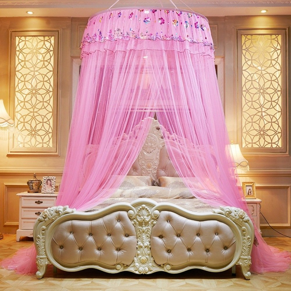 Mosquito Net Bed Canopy For Children Fly Insect Protection Indoor Decorative Height 280cm 3-doors Polyester,Pink