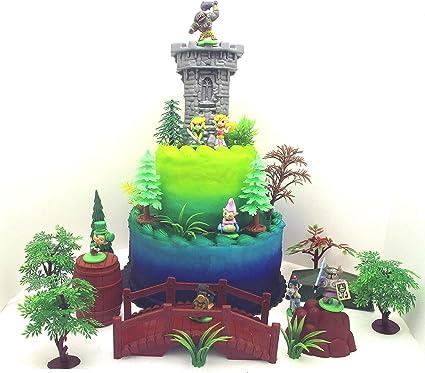 Zelda 25 Piece Deluxe Birthday Cake Topper Set Featuring Random Zelda Character Figures and Decorative Themed Accessories