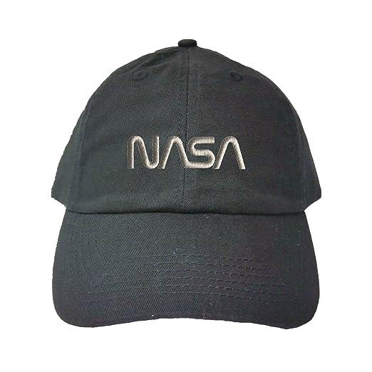 e8ddcfa2960 Go All Out Adjustable Black Adult NASA Worm Logo Embroidered Dad Hat