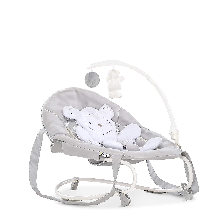 Hamaca para bebes de 0 meses a 9 kg arco de juegos y reductor desmontable respaldo ajustable gris Hearts sistema de arn/és de 3 puntos Hauck Leisure funci/ón mecedora