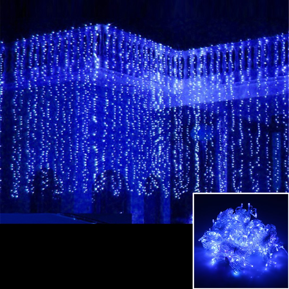 AGPtek® 15Mx3M 1664LED Linkable Fairy Curtain Lights Strings Connectable Lights 8 Lighting Modes for Wedding Ceremony Christmas Party Home Decoration Holiday Celebration-Blue by AGPtEK
