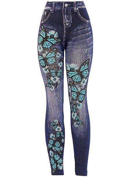 11573cbb37 KMystic Women s Denim Print Fake Jeans Leggings (Blue Butterfly) at ...