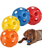 4 Pack Large Hollow Plastic Coloured Air Flow Pet Play Balls Dog Cat Puppy Toy Red Yellow Blue Orange Set