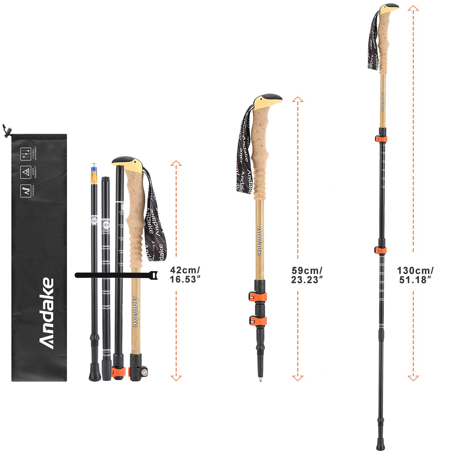 Andake Trekking Poles, Shock-Absorbent, Carbon Fiber Hiking, Walking Running Sticks with High Elasticity EVA Grips, Quick Locks, Lightweight and Collapsible with All Terrain Accessories Carry Bag