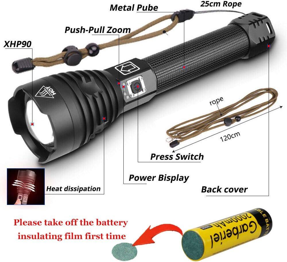 Camping ShineTool XHP90 Lampe de poche 6000 Lumens Zoombar USB Rechargeable Puissante Lampe de poche LED pour Randonn/ée Chasse Activit/és de Plein Air