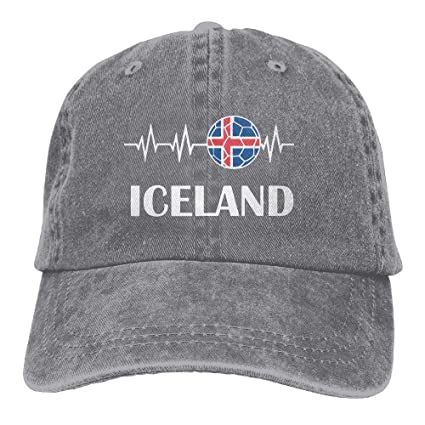 longkouishilong Gorras béisbol Mens Womens Soccer Heartbeat I Love Iceland Cotton Denim Baseball Hat Adjustable Street