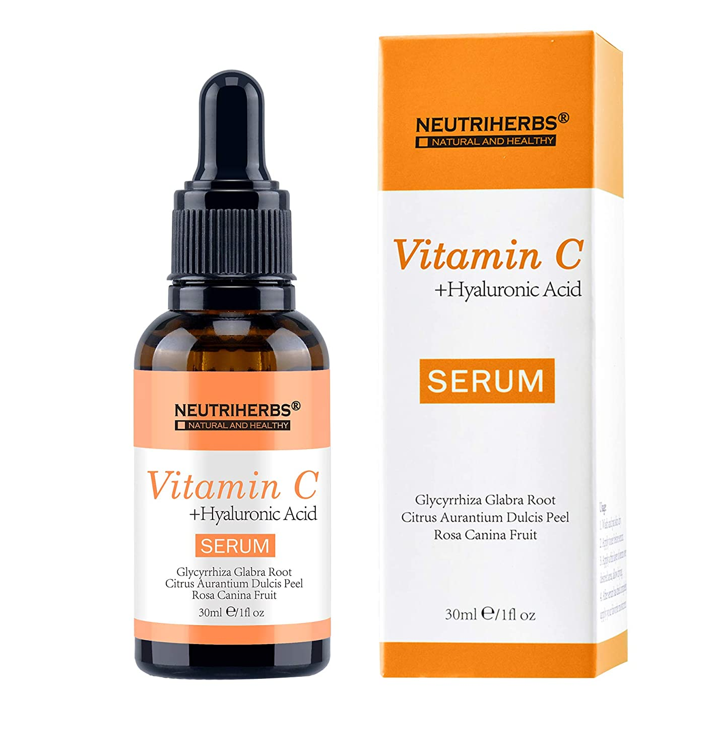 NEUTRIHERBS Vitamin C Serum for Face, 20% Vitamin C combined with Hyaluronic Acid Serum Best Skin Whitening Moisturizing Face Treatment Serum 30ml/pc=1 fl oz