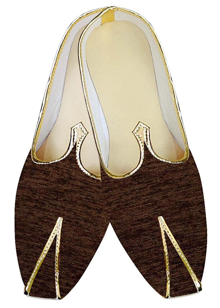 INMONARCH Mens Juti Brown Jute Velvet Wedding Shoes Sherwani Shoes MJ014263