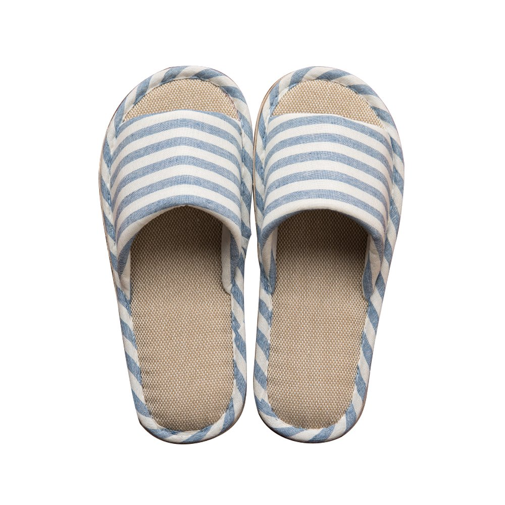 Paangkei Womens Or Mens House Slippers/Slide Open Toe Spring Summer Indoor Home Cotton Flax Shoes (EU40-41:Men 5.5-6 & Women 9-10, Sky Blue)