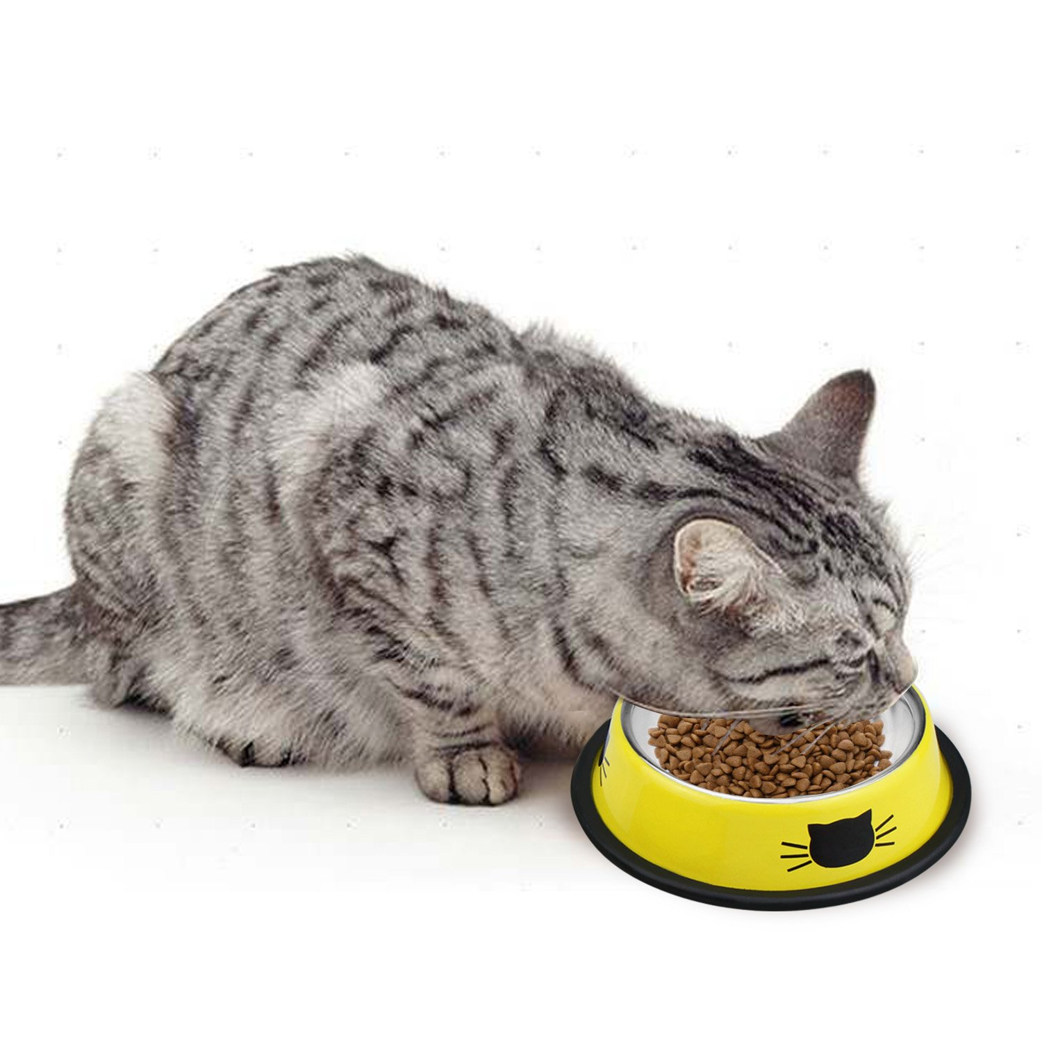 Comsmart Stainless Steel Pet Cat Bowl Kitten Puppy Dish Bowl with Cute Cats Painted Non-Skid for Small Dogs Cats Animals (Set of 2) (Yellow/Yellow) by Comsmart (Image #10)