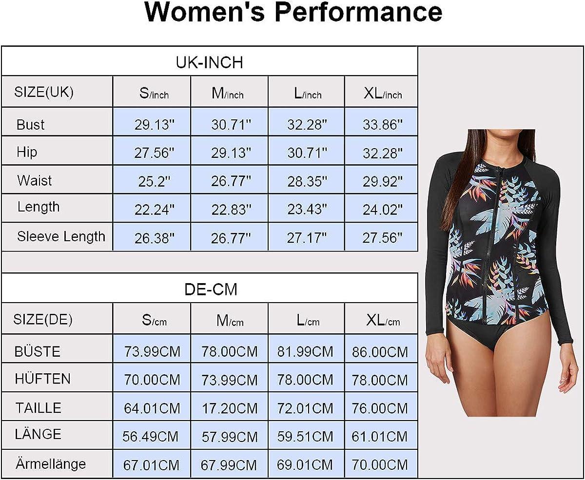 Viottiset Damen Rash Guard Bademode Tankini Sets f/ür Schwimmen Surfen Tauchen Sport Badeanzug Kurzarm UV-Schutz