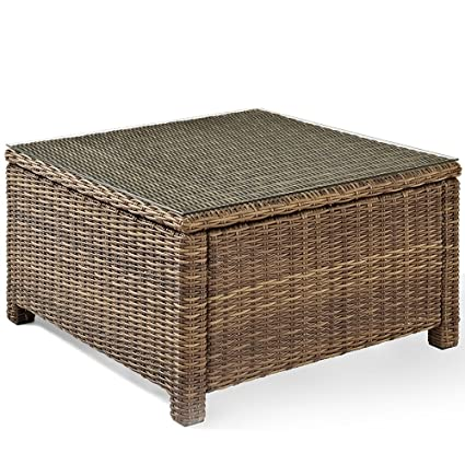 Crosley Furniture Bradenton Outdoor Wicker Sectional Coffee Table With  Glass Top   Weathered Brown