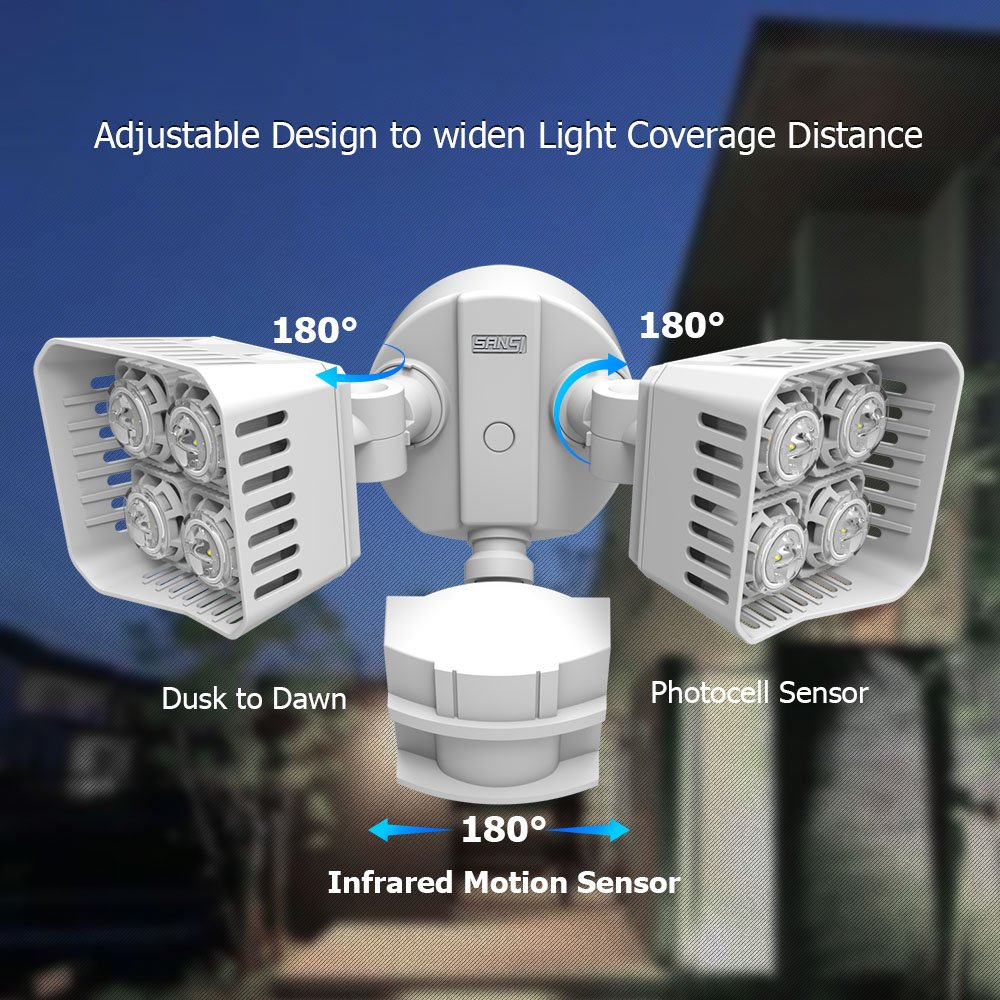 sansi led security motion sensor outdoor lights 30w 250w