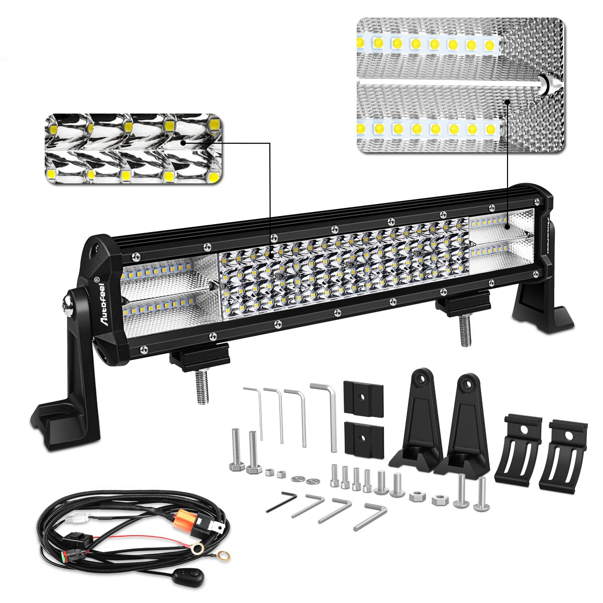Led Light Bar Autofeel 12 Inch 210w Quad Row Driving Lights Spot Wiring Harness Flood Combo Beam