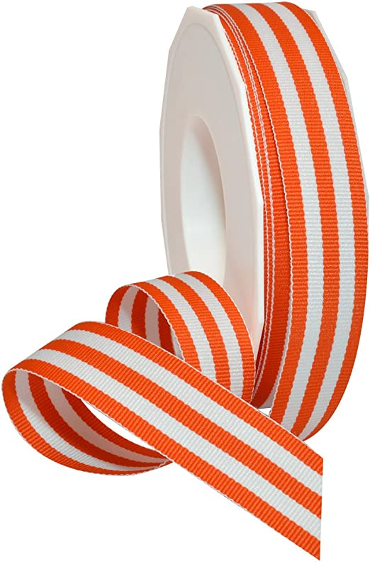"6 yards 3//8/"" Halloween Black Orange Stripes Woven Grosgrain Ribbon"