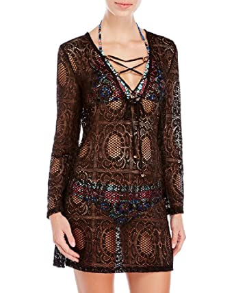 6aefad69d4b7a Blue Island Women s Swimwear Cover-Up Lace-Up Crochet Black (Medium ...